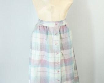 Vintage Wool Pastel Plaid Skirt -  Medium M - A-Line Full Skirt - 1950s Women's Clothing - Christmas Gift for Her - Vintage Style  JH