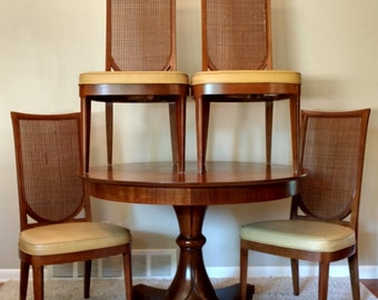 Mid Century Drexel Cane Highback Dining Chairs