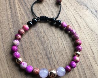 Purple Sea Sediment Jasper with 14k Rose Gold Filled and Amethyst Beaded Adjustable Bracelet