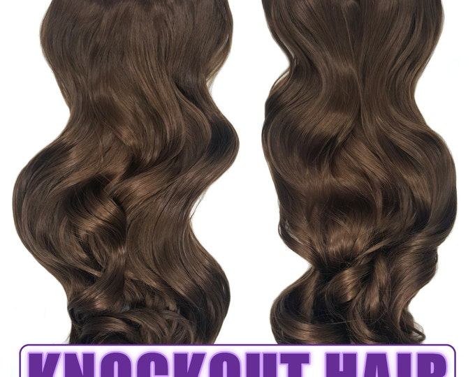 "Fits like a Halo Hair Extensions 20"" - 150 Grams 100% Premium Fiber Wavy Hair (Light Brown #08)"
