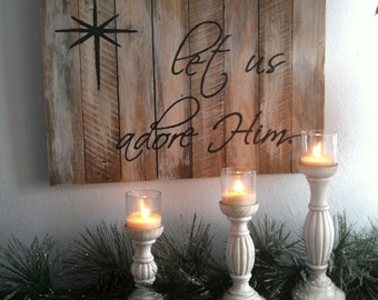 Gift, Oh Come let us adore Him, handpainted sign, christmas signs, wood christmas sign, christmas decor, christmas decorations