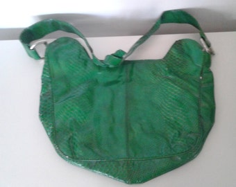 Vintage 1960's Green Snakeskin Vinyl Purse Shoulder Bag Mod Rocker