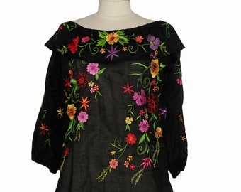 Mexican embroidered  blouse with smock ruffle neckline and embroidery, off the shoulder smock top