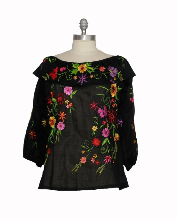 mexican embroidered blouse with smock ruffle neckline and