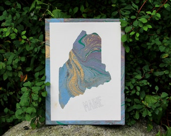 Marbled Maine Silhouette Wall Art