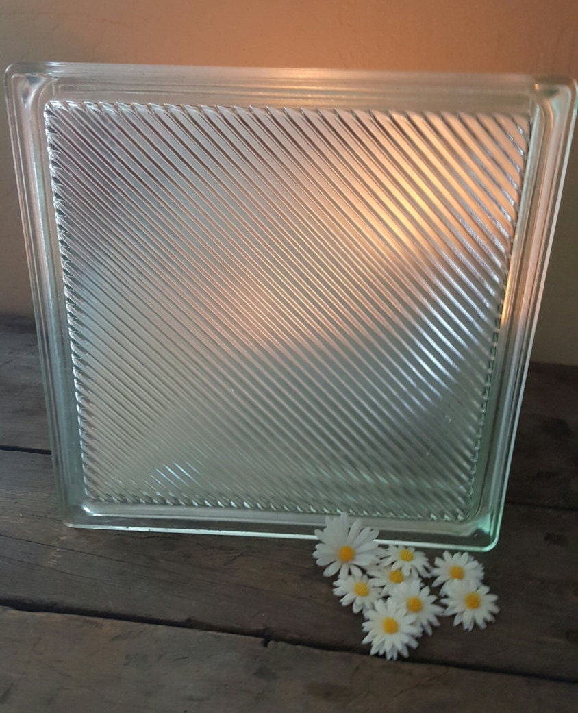 Vintage glass block window glass block reclaimed for Glass boxes for crafts