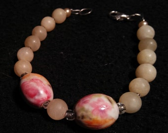 Recycled, Reconstructed, Yellow Jade and Ceramic Bead Bracelet