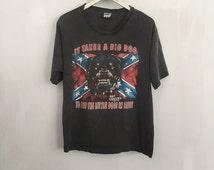 Redneck shirt vintage t shirt snarling Rottweiler tshirt south country flag 90s vintage clothing biker trucker tee super faded black XL