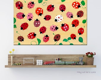 PRINT Canvas. Ladybugs Beautiful Playroom Picture Kids Print Nursery Decoration Idea Wall Art Baby Shower Room Gift Girl Interior Printable
