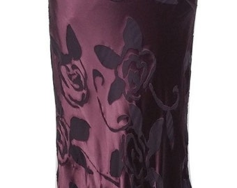 Vintage Silk Blend Skirt by Monsoon Twilight in Dark Purple w/Black Floral Size 10 Free Postage Reduced International Postage