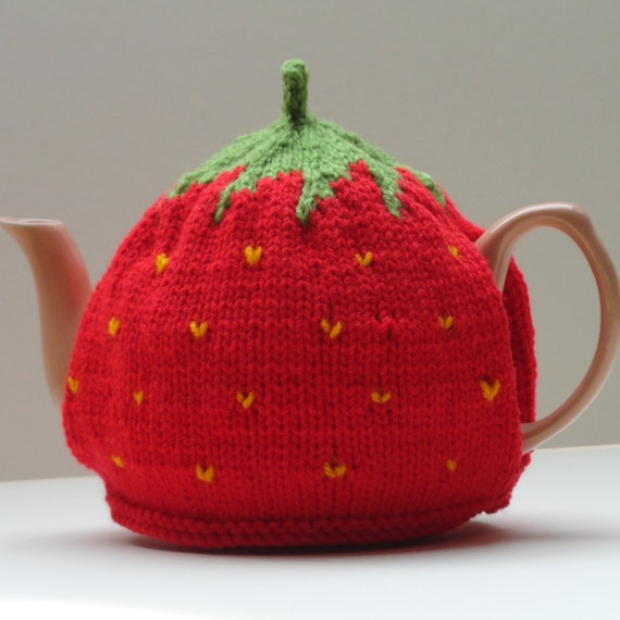 Strawberry Tea Cosy Knitting Pattern : Knitted strawberry tea cosy Medium sized by MadeInCiderBarn