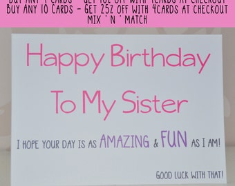 Sister Birthday Card, Birthday Card for Sister, Card for Her, Happy Birthday To My Sister, Card for Sister, Sister Card, Birthday Card