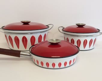 Red Cathrineholm Small Dutch Oven-Cathrineholm Casserole