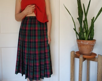 Red and green Pendleton plaid skirt