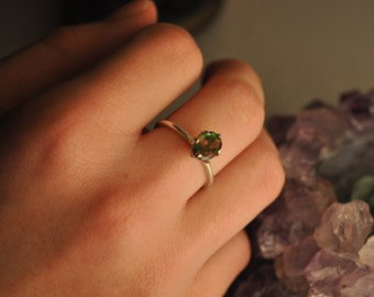 Iridescent Green//Purple Facected Stone Prong Ring