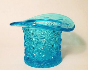 Blue Glass Daisy and Button Top Hat, Vintage Glass Hat