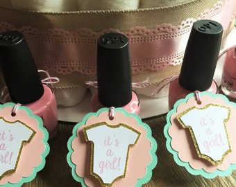 "Set of 10 Light Pink Mint and Glitter Gold ""It's a Girl"" Baby Shower Favor Tags - Scalloped Circle Tags with Onesie - Nail Polish Gift Tags"