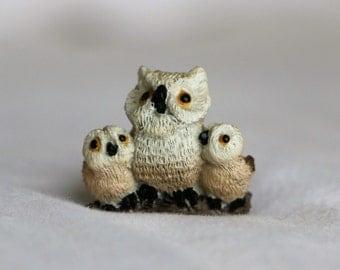 Tiny Owl Trio Figurine