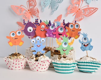 16 Monster Birthday Party Supplies, Monster Cake Decoration, Monster Cake Toppers, Monsters Birthday Party, Monster Cake Topper, Centerpiece