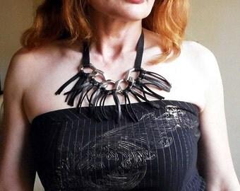 Black Genuine Leather Boho Necklace