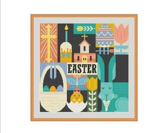 Easter cross stitch, Eggs cross stitch, Bunny cross stitch, Chick cross stitch, Tulip cross stitch, Spring cross stitch, Cross stitch PDF