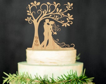 Bride Groom Wedding Cake Topper Mr Mrs Tree Cake Topper Custom Cake Topper Personalized Wedding Cake Topper