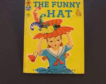The FUNNY HAT  vintage Rand McNally Tip Top Elf  Marjorie Barrows Dorothy Grider blows away Sally 1959 VG