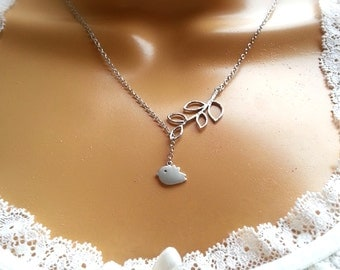Matte Silver Bird Branch Lariat Necklace Bridesmaid Necklace Gift For Her Valentine's Day Gift
