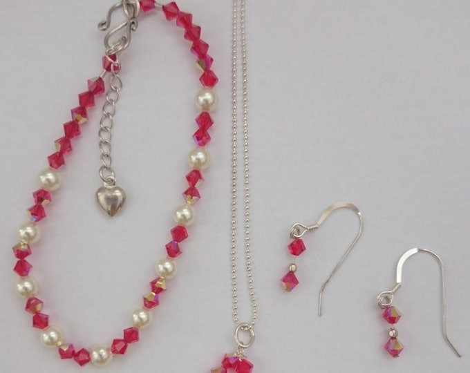 Ruby Swarovski Crystal Necklace Set Swarovski crystal necklace swarovski crystal bracelet crystal earrings sterling silver gift ideas birth
