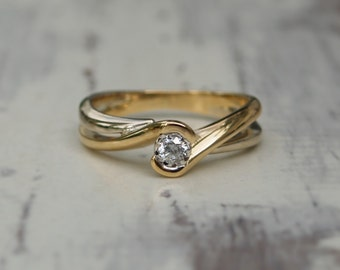 18ct white and yellow gold diamond ring - Engagement ring - Solitare diamond ring - Unique ring - 18ct diamond ring - Free shipping