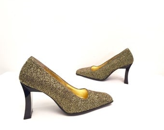 Vtg Golden Vegan Glitter Heel Shoes