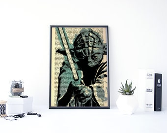 Star Wars Dictionary Print, Yoda Print, Star Wars Yoda, Vintage Star Wars Poster, Star Wars Gifts For Him, Star Wars Book Art