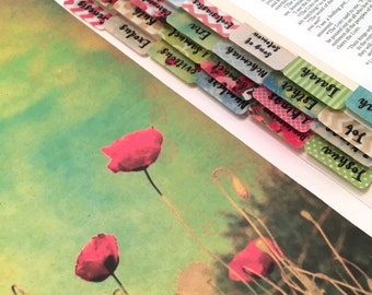 "STANDARD ""Poppy Impressions"" Multicolored Books of Bible Tabs by Victoria Anderson"
