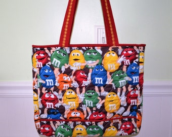 Red  M & M Tote Bag