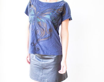 Blue Butterfly T-Shirt, Semi Sheer Butterfly Top, Spring Butterfly Tunic, Chiffon Embroidery Vest, Butterfly Embroidery, Vintage Butterfly