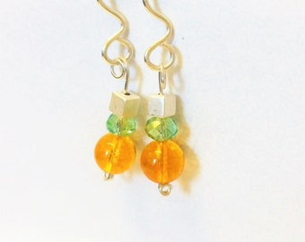 Citrine and  Argentium Sterling Silver Earrings