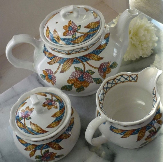 "1950s Sadler ""Piazza"" Tea set, comprising Teapot, sugar bowl & milk jug, wedding gift, mosaic pattern, wedding breakfast, tea party"