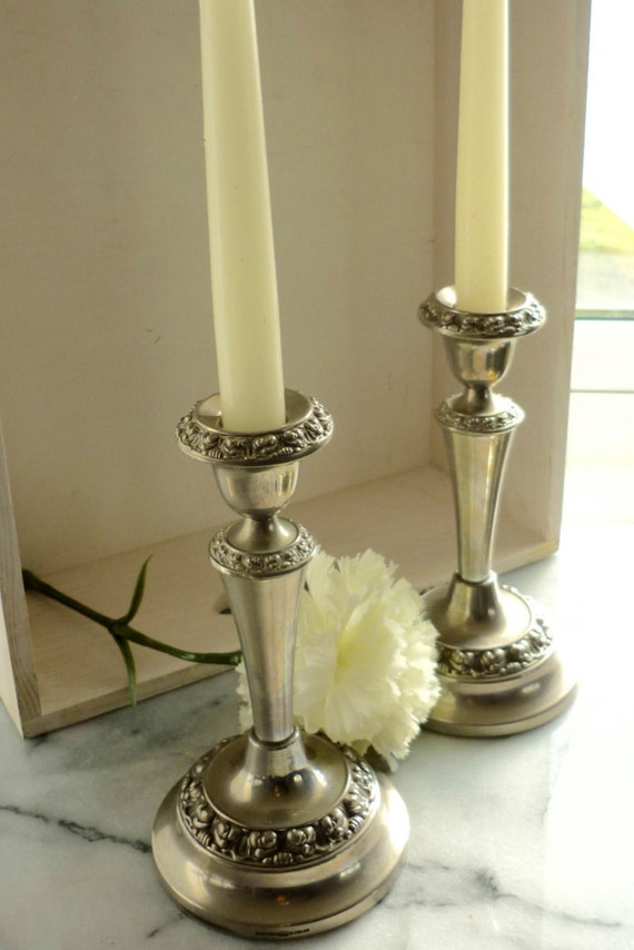"""Ianthe (Ian Heath Ltd of Birmingham c1952). Silver Plated Candle Stick holder. Stands 7"""" high and Base is 4"""" across, wedding gift"""