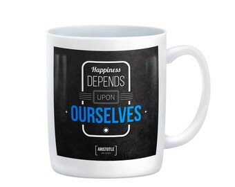Happiness Depends on Ourselves Coffee Mug,Aristotle, thoughts,opinion,philosophy