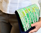 Hand painted clutch purse, Handmade spring bag, Forest print purse, Casual clutch, Green navy blue clutch, Statement bag, Green print purse