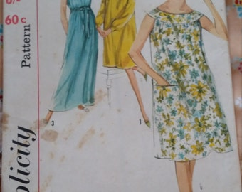 Simplicity 5514 1964 Vintage/Madmen Size 10-12 Nightgown UNCUTSewing Pattern