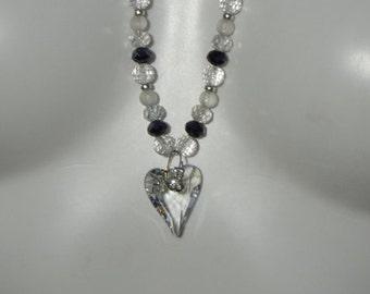 Sterling Silver & Swarovski Crystal Heart Necklace