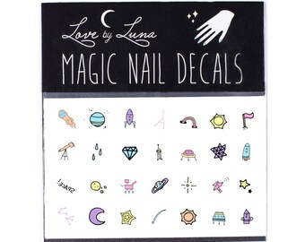 Space Doodle Nail Decals / Space Nail Decals / Star Nail Decals / Constellation Nail Decals / Rocket Ship Nail Decals / Sun Nail Decals