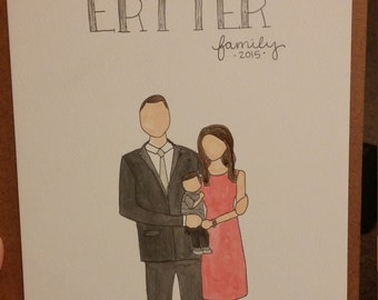 Custom Family Painting, Family Sketch, Water Color