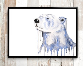 Polar Bear print, Wall art prints, Watercolor painting, Polar bear painting, Animal Art, Animal print, Nursery wall art, Bear art Wall decor