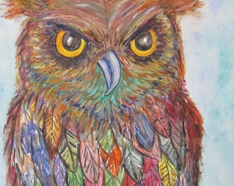 Colorful Owl painting, Archimedes;owl,painting, watercolor canvas 8x10,nature, wildlife