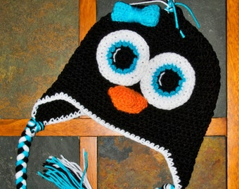 Handmade Crochet Penguin Earflap Hat with Teal - all sizes! 0-3 Months to Adult
