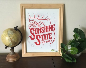 The Sunshine State - Block Print