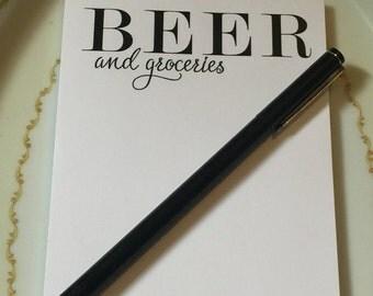 Beer & Groceries, Grocery List, Beer, Market Pad, Pad of Paper, Notepad, 50 count pad, Paper Pad, List, List Pad, Office Pad, Desk Pad