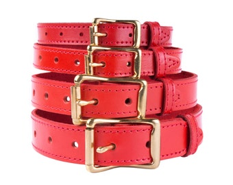 Red Leather Dog Collar Solid Brass Buckle